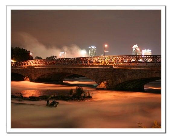 Niagara River Photography, Buffalo NY, Bridge over River, Night Photography, 11x14 brown orange french roast