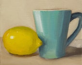 Original Oil Painting on Canvas board, - Blue and Yellow -  15x15cm