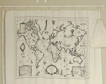 Cotton Linen Fabric Cloth -DIY Cloth Art Manual Cloth-Map Of The World 57x28Inches