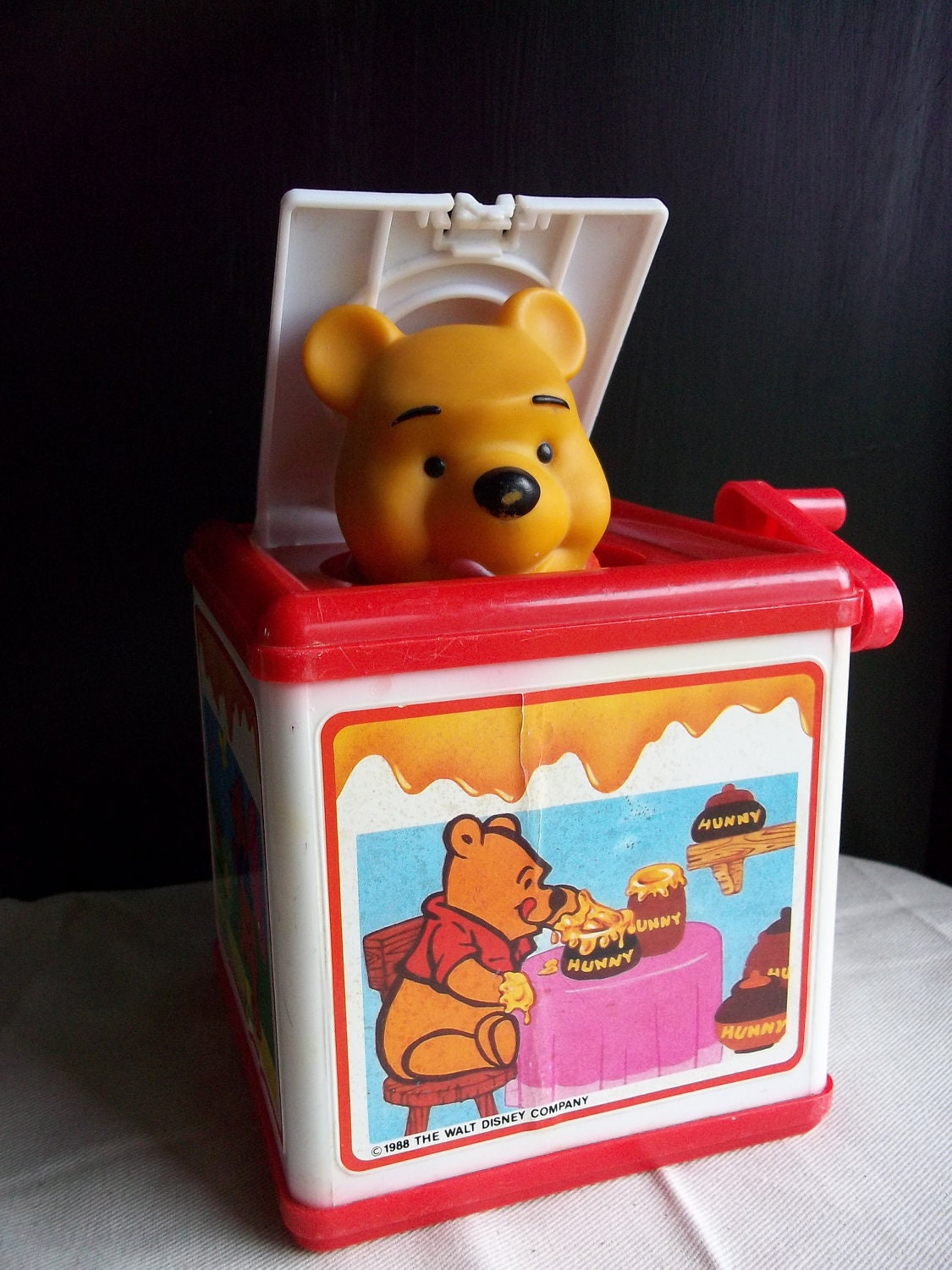 Vintage Winnie the Pooh Jack in the Box toy by beautifulthingsforu