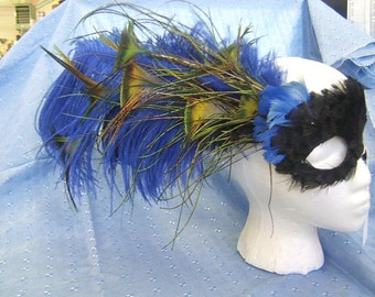 100% Cruelty Free  -  Ostrich Peacock Pheasant - Feathered Halloween Mask - Blue Black