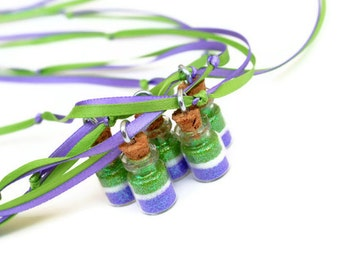 Fairy Party Favor Necklace,  Purple, lime green, Princess Party Favor, Fairy, Castle, Faerie, Faery, Magical, Wish, Dream