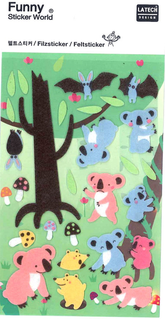 Korean Scrapbook Die-cut Felt Stickers, Cute wild animal V2 (STSM03068)