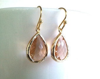 Peach Earrings, Wedding Jewelry, Bridesmaid Jewelry Bridesmaid Gift ,Wedding Jewelry,Champagne Drop Earrings, Peach Dangle Earrings