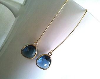 Navy Earrings, Sapphire Earrings, Linear Simple Gold Earrings.Drop, Dangle, Glass Earrings, bridesmaid gifts,Wedding jewelry,christmas gift