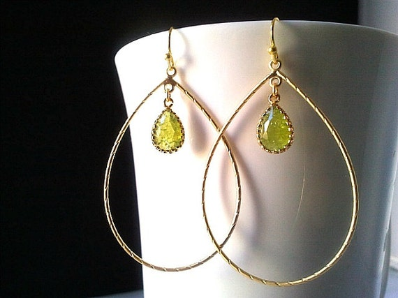 Large Gold Teardrop Hoop Earrings With Crackle Peridot  Drop Earrings, Drop Silver ,Drop, Dangle, Earrings,bridesmaid gifts,Wedding jewelry