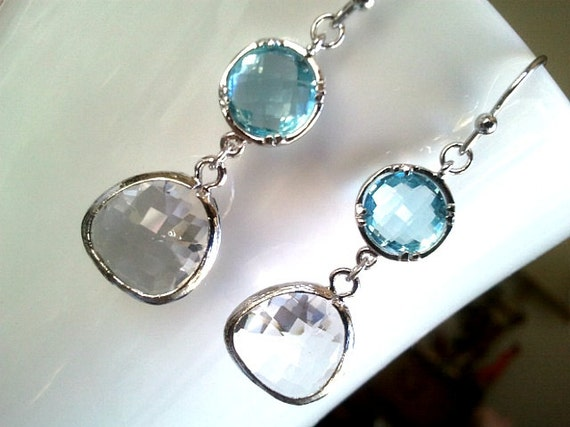 Clear Crystal with Aqua ,Drop, Dangle, Earrings,bridesmaid gifts,Wedding jewelry,christmas gift, cocktail jewelry