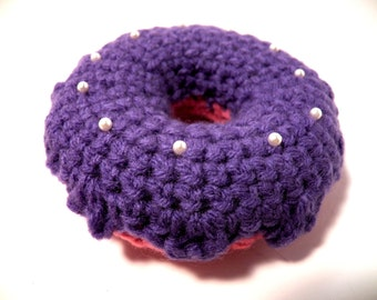 Crochet Pin Cushion light Raspberry donut with Lavender icing and sprinkles Handmade Pincushion Sale