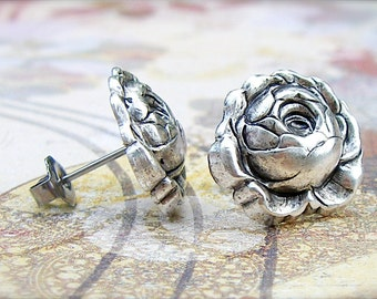 Peony - antique silver post earrings