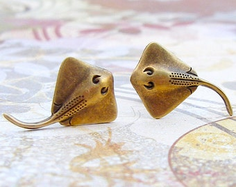 Stingray - antique brass finish post earrings, surgical steel earrings