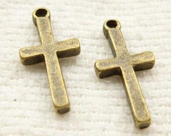 Simple Christian Symbol Cross, Antiqued Bronze (8) - A10