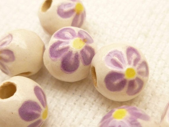 8mm Ceramic Lavender Flower Beads (10)