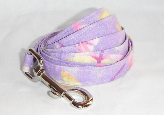 Dog Leash - purple butterfly