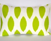 green Ikat decorative lumbar pillow  designer pillow accent pillow 12 x 18 inches Christmas gift
