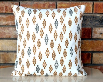 Brown decorative pillow designer pillow Dwell Studio Boteh camel 18x18 inches pillow ocver