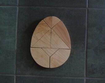 "Tangram Wood Egg Puzzle  6.5"" X 8.5"""