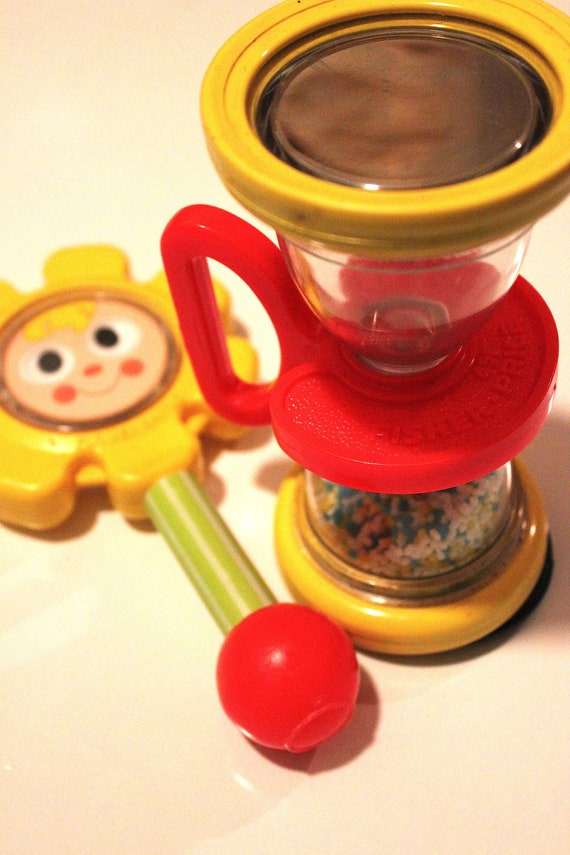 Fisher Price set- hourglass and flower rattles