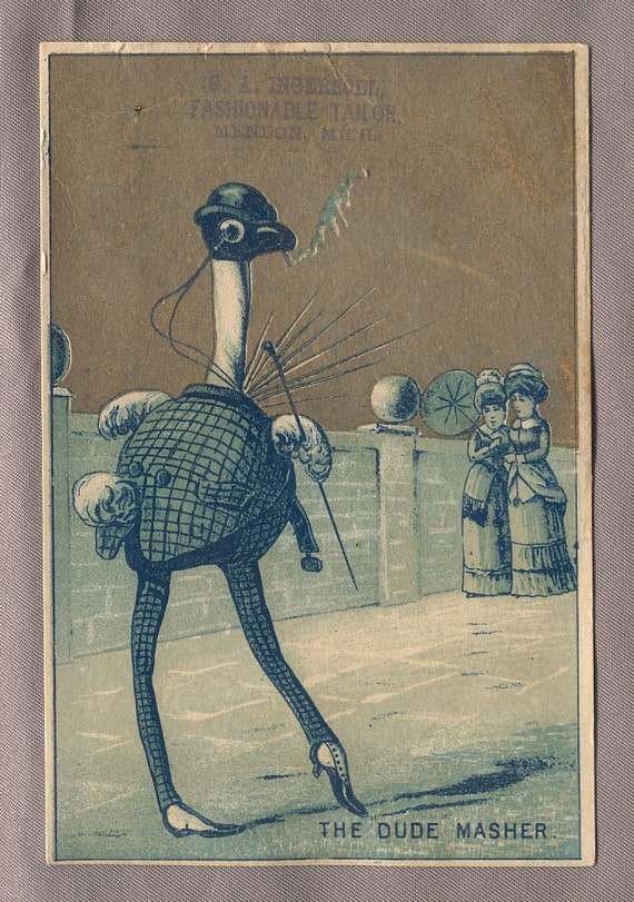 OSTRICH DUDE MASHER victorian trade cards Mendon Michigan
