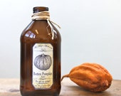 Vintage Bottle with Spooky Rotten Pumpkin Apothecary Label
