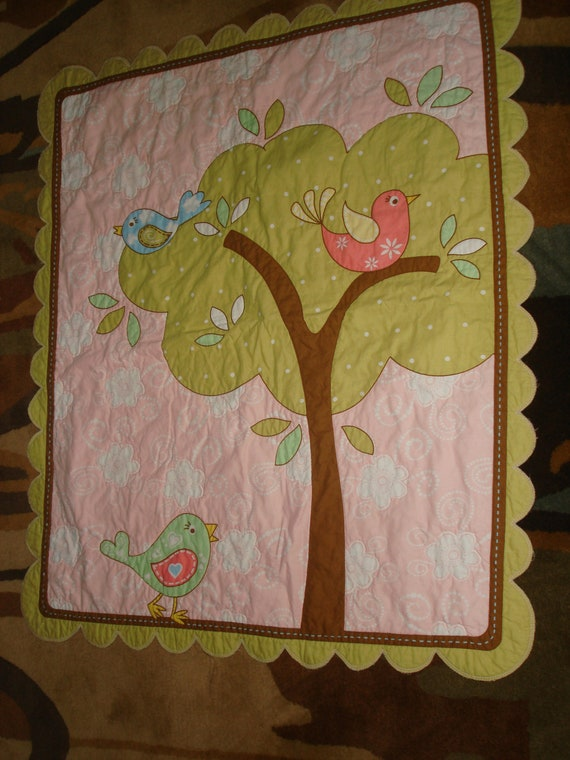 Baby Girl Little Bird in Tree Quilted Blanket Panel Fabric with Scalloped Edge 34X40