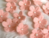 GUM PASTE BLOSSOMS / 30 Peach Flowers  / Edible Cake Topper and Cupcake Decorations