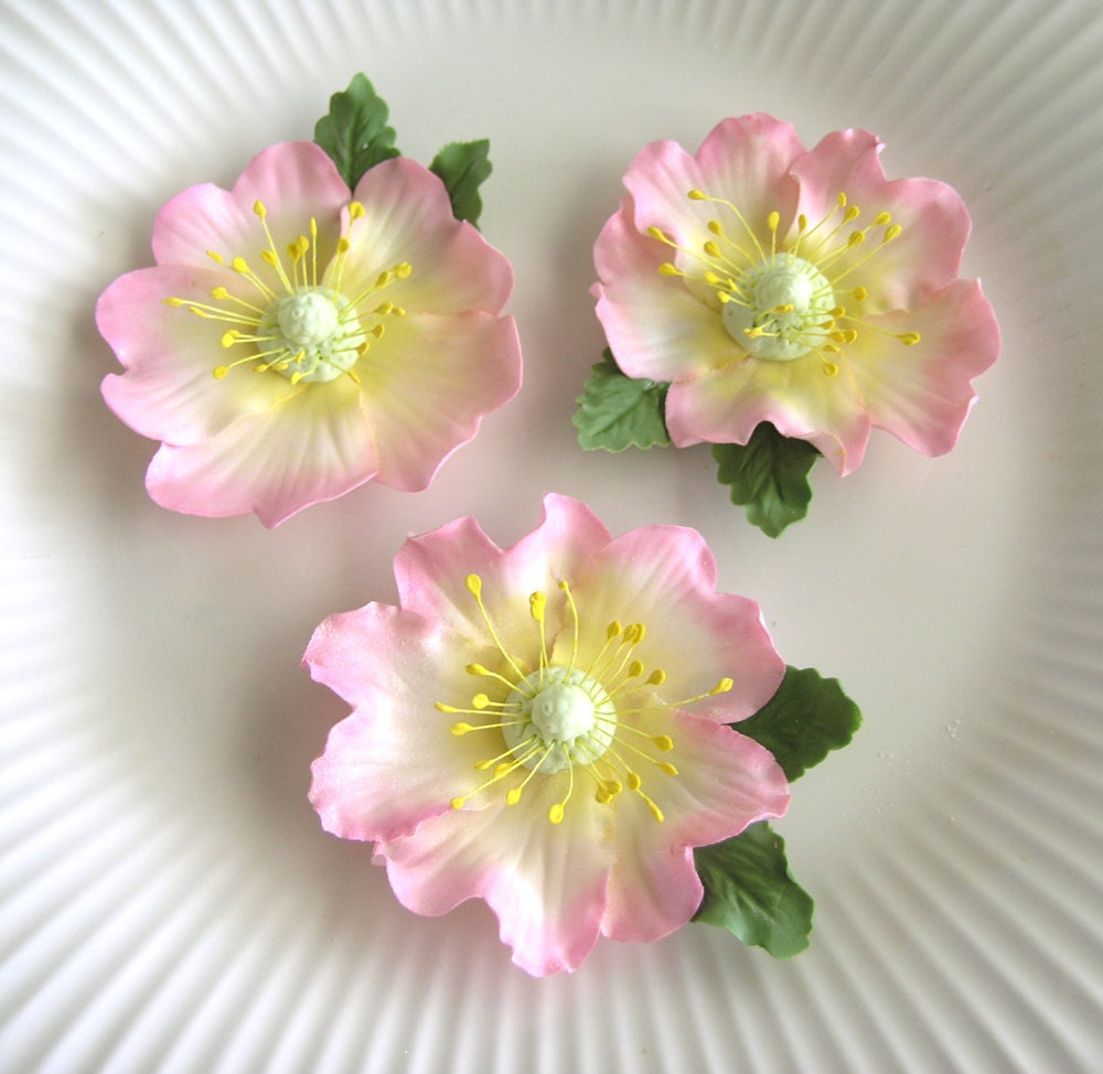 PINK BRIAR ROSE Gum Paste Flowers / Edible Cake Topper and