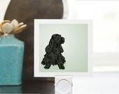 Mini Print - Black English Cocker Spaniel - Illustrated Print - 3x3 Archival Matte