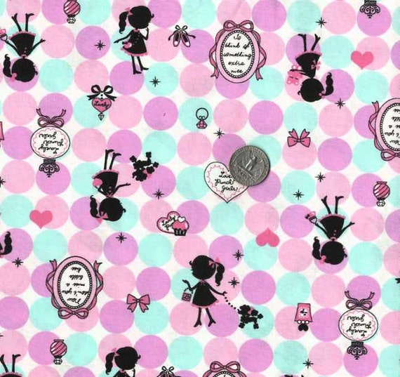 LECIEN LOVELY PUNCH Girls Japanese Fabric - 110cm x 50cm