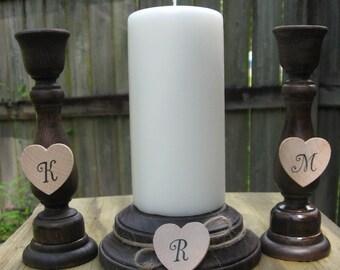 Wood Unity Candle Set, Unity Candle Holder Set, Unity Candle Stand Ceremony Set, Shabby Chic Wedding Decor, Wedding Candle Holders