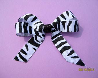 Zebra Print Ribbon Hair Bow-last one left being discontinued!