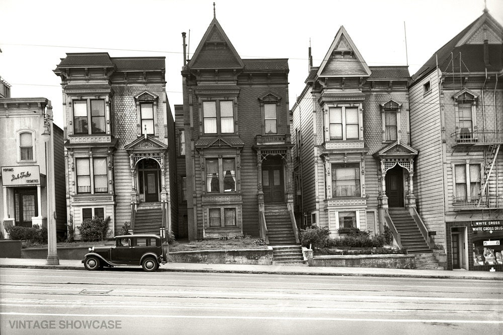 Vintage Photo Of Old Historic Houses In San Francisco