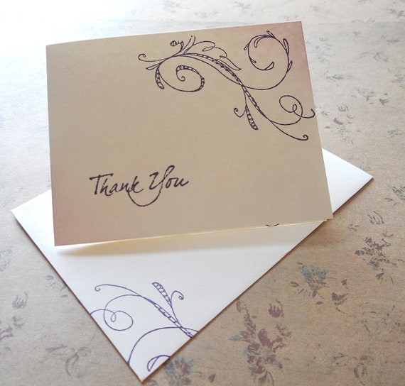 Thank you hand stamped stationery set, purple whimsical swirl hand stamped on to folded note cards, blank inside, set of 10 with envelopes.