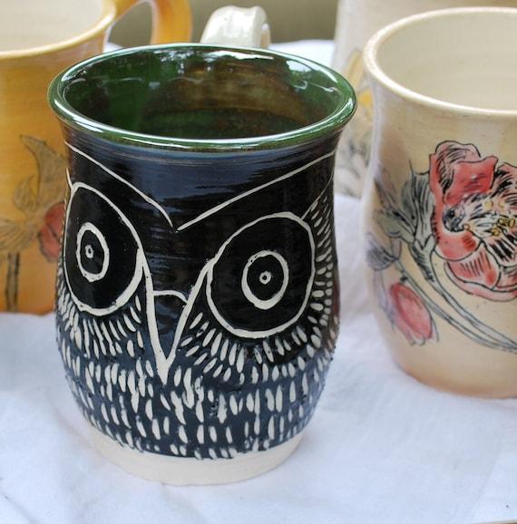 Carved Owl Mug