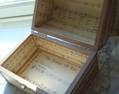 Wooden Chest Covered In Collage Of Century-Old Sheet Music Inside And Out