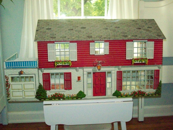 Red Marx Tin Dollhouse With Furniture