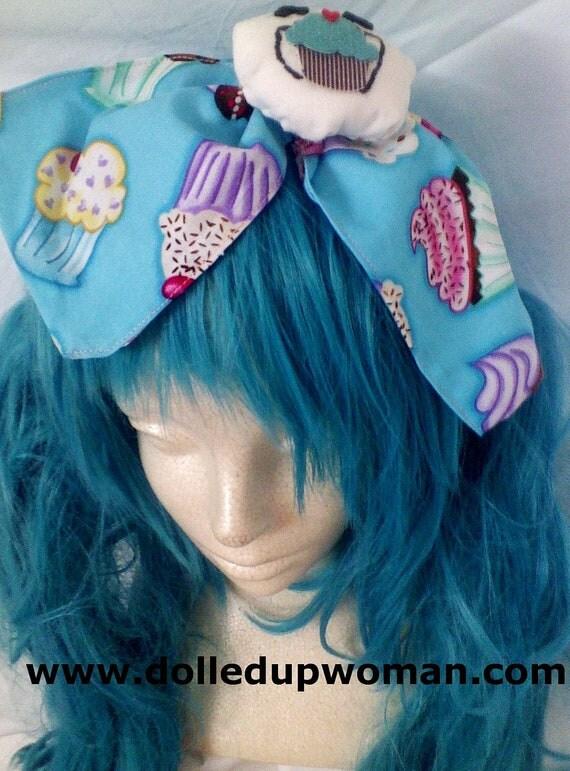 Blue Cupcake Print w. Stuffed Animated Dumpling Bow Headband