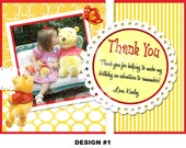 Winnie the Pooh Thank You Note - Winnie the Pooh Thank You Card - Printable Party - Butterfly Thank You Note - Photo Option - Girl Boy Theme