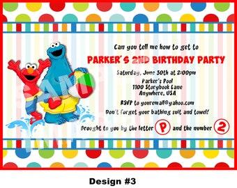 Sesame Street Invitation - Elmo Invitation - Cookie Monster Big Bird Elmo Birthday Invitation - Printable - Photo - 4 Designs - Swim theme