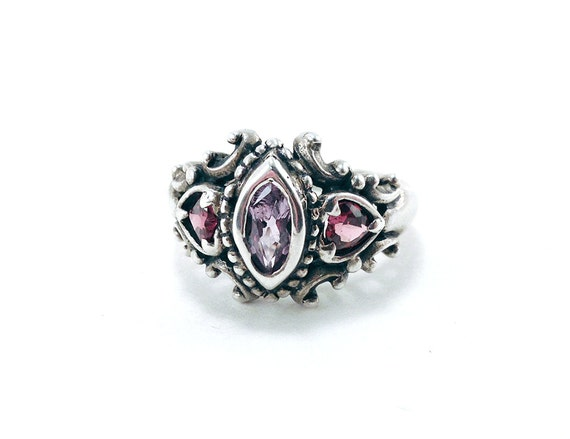 Vintage Amethyst Valentine's Hearts Antique Sterling Silver Ring Size 6.5