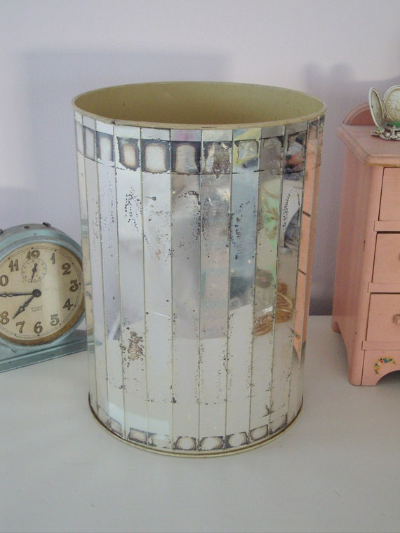 VINTAGE MIRRORED WASTEBASKET-Mirror Trash Can - So Glam