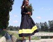 linen maxi  dress patchwork  dress looser  dress black dress