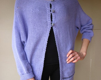Button Up Sweater Jacket Kimono Lilac with Agate Bead-Buttons