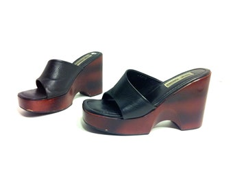 Leather Platform Clogs 7 - Wooden Wedge Chunky Mules 7 - 90s Platform Sandals 7