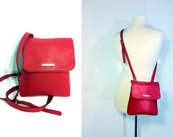 20 SALE -- Cherry Red Cross Body Saddle Bag - 90s Esprit Satchel