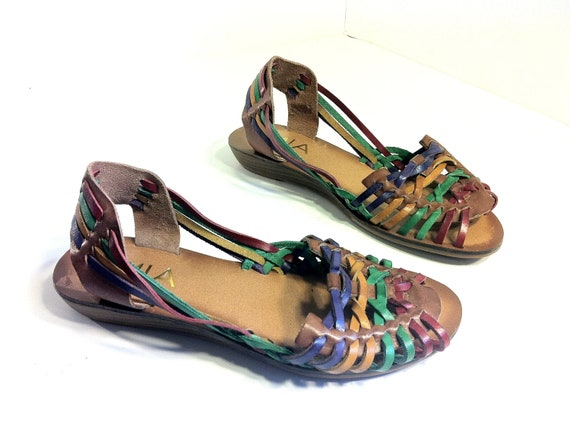 RESERVED FOR KRISTAL Multi Colored Leather Woven Huaraches 6.5 - Peep Toe Rainbow Strappy Sandals