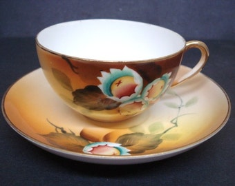 mpressive Antique CUP and SAUCER SET  by Nippon Japan Eggshell Thin China Hand Painted