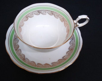 PRETTY Vintage CUP and SAUCER  Set -  by Roslyn Fine Bone China  - Made in  England  - Decoration