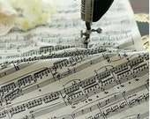 Music Score Cotton Linen Fabric- Piano Music Notes Instrument Panel Fabric Curtain Cushion Bags Fabric - One Panel 35x55 inches