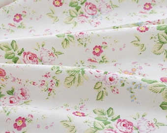 "Pink China Rose Japanese Fabric, Shabby Chic Fabric, White Cotton Linen Fabric with Pink Flower, Rose Fabric Linen- 1/2 yard 18""X45"""