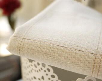 Beige Fabric Beige Plaid Fabric, Large Plaid Cotton Fabric Quilt Fabric - Fabric by Yard 1/2 yard